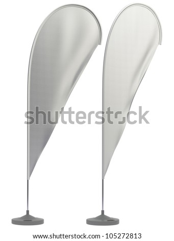 Beach flags II. Neutral colors. With clipping paths - stock photo