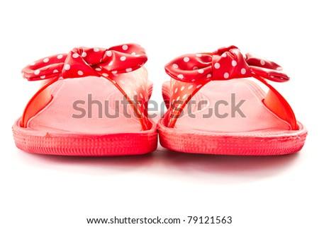 beach flip-flops on a white background - stock photo