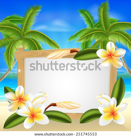Beach floral frangipani plumeria flower beach palm tree summer tropical holiday background sign - stock photo