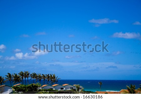 Beach front little town - stock photo