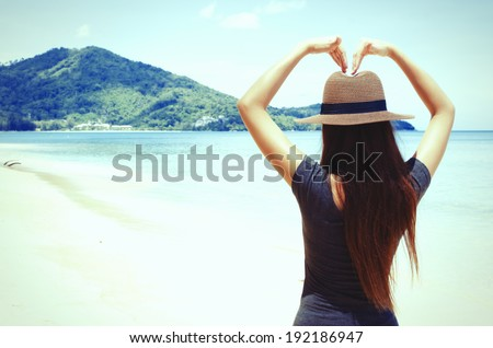 Beach girl vintage , Vintage Beach girl , Girls love the sea vintage , Street girl vintage beach - stock photo