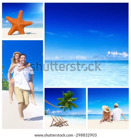 Beach Holidays Couple Fun Happiness Honeymoon Sea Sand Smile Concept - stock photo