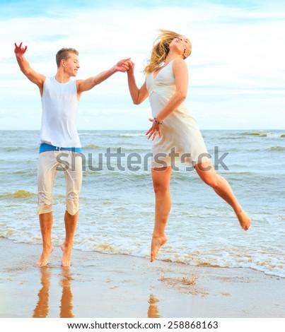 Beach Honeymoon Happiness  - stock photo
