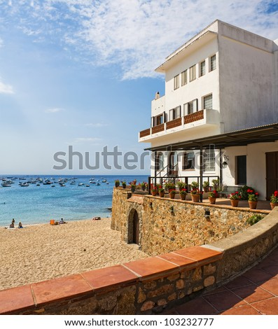 Beach house in Tamariu (Costa Brava), Catalonia, Spain - stock photo