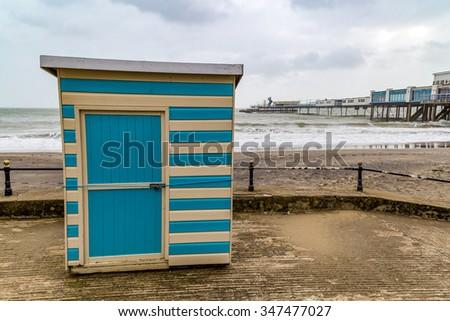 beach hut at sandown isle of wight uk - stock photo