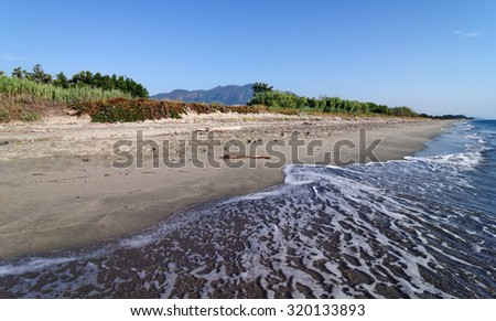 Beach in a eastern coast of Corsica island - stock photo