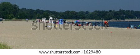 Beach in August - stock photo