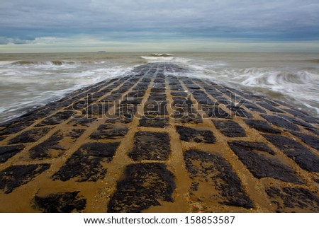 Beach in Belgium  - stock photo