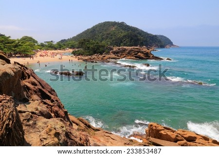 Beach in Brazil - Costa Verde (Green Coast) in Trindade near Paraty. State of Rio de Janeiro. - stock photo