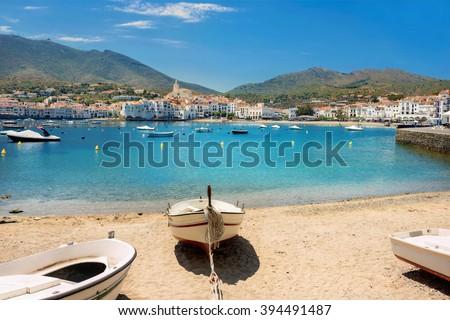 Beach in Cadaques on Mediterranean seaside, Costa Brava, Catalonia, Spain - stock photo