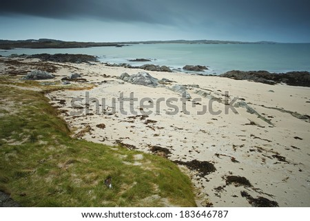 Beach in Connemara on the Wild Atlantic Way coastal route in Galway in Ireland Europe. - stock photo