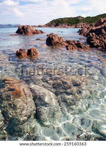 Beach in Emerald Coast Sardinia - stock photo