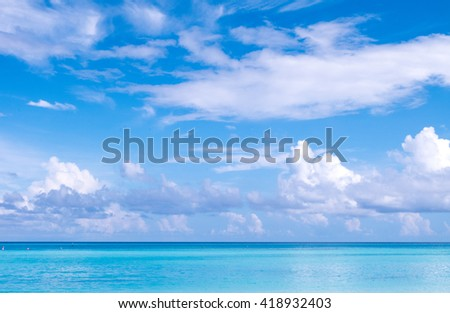 Beach in Maldives with blue sky background. - stock photo