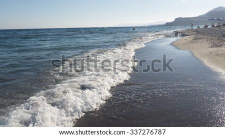 beach in Rhodes - stock photo