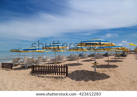 Beach in summer at the Black sea coast - stock photo