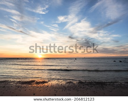 beach in sunset - stock photo