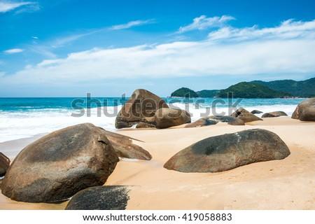 Beach in Trinidade - Paraty, Rio de Janeiro state, Brazil - stock photo
