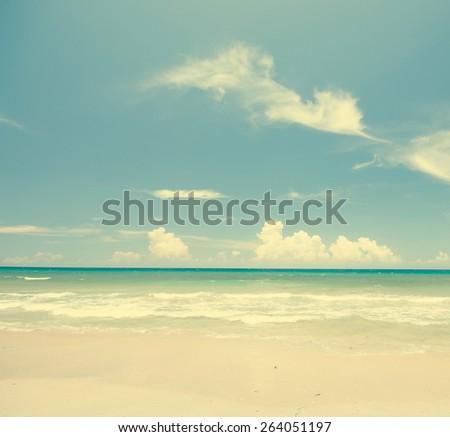 beach in vintage tone - stock photo