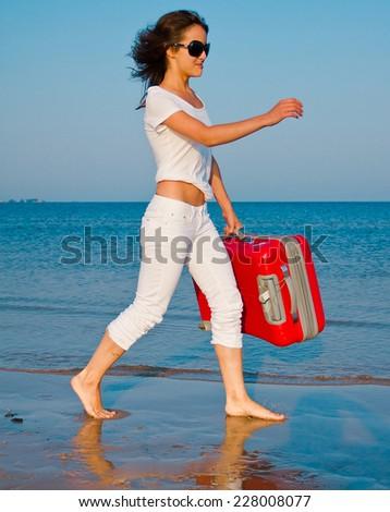 Beach Joy Suitcase  - stock photo