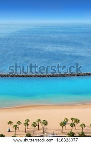 Beach Las Teresitas in Santa cruz de Tenerife north at Canary Islands - stock photo