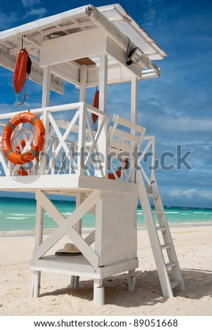Beach life-saving hillock - stock photo