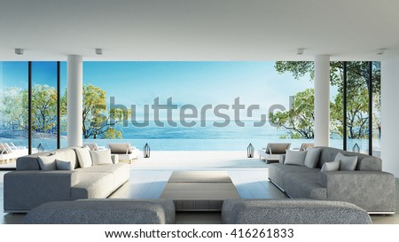 Beach living on Sea view / 3d rendering - stock photo