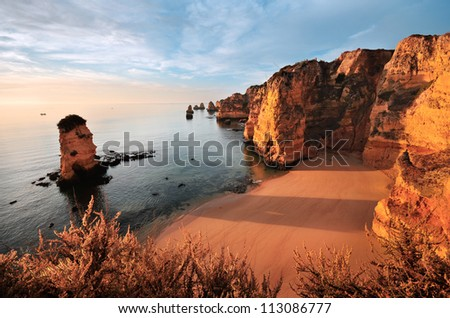 Beach near Lagos, Algarve, Portugal - stock photo