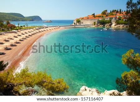 Beach near the island Sveti Stefan. Montenegro - stock photo