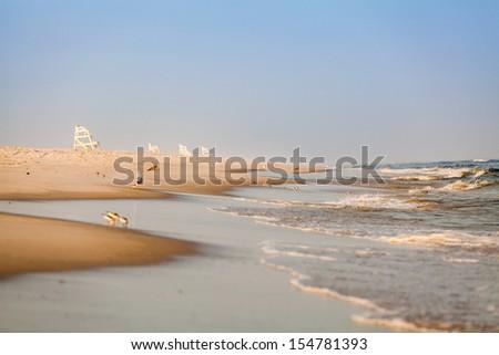beach/ocean/chairs/waves  - stock photo