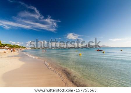 Beach of Alcudia, Mallorca, Balearic Islands, Spain - stock photo