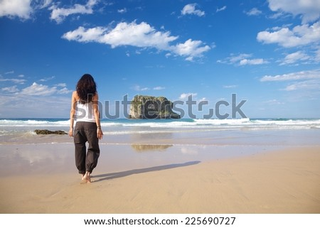 beach of Ballota near to Llanes village in Asturias Spain - stock photo