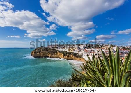 Beach of Carvoeiro in Portugal. Marine street scene. - stock photo