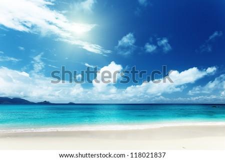 beach of Mahe island, Seychelles - stock photo