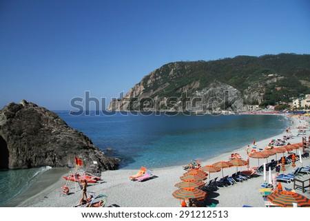 Beach of Monterosso Al-Mare in Cinque Terre, Italy - stock photo