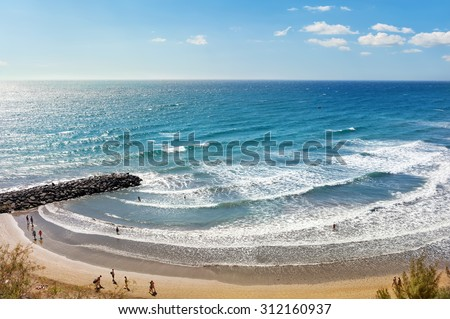 Beach of Playa del Ingles. Maspalomas. Gran Canaria - stock photo