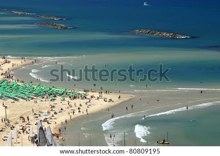 Beach of Tel Aviv (Israel) Panoramic view. - stock photo