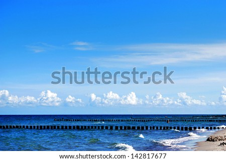 beach of the balitc sea in fischland darss zingst, germany - stock photo