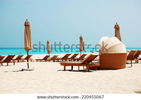 Beach of the luxury hotel, Abu Dhabi, UAE - stock photo
