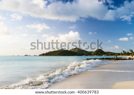 Beach on Antigua - stock photo