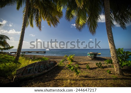 beach on dominica in the caribbean sea - stock photo