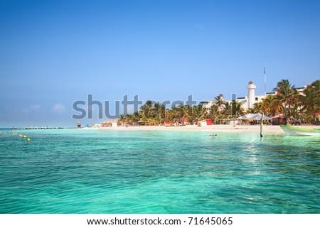 beach on Isla Mujeres, Mexico - stock photo