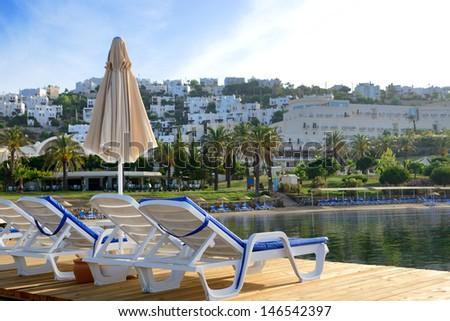 Beach on Mediterranean turkish resort, Bodrum, Turkey - stock photo