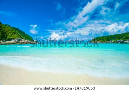 Beach on the Raya island in Phuket Thailand - stock photo