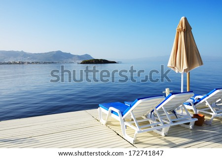 Beach on Turkish resort, Bodrum, Turkey - stock photo