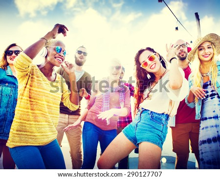 Beach Party Music Dancing Friendship Summer Concept - stock photo