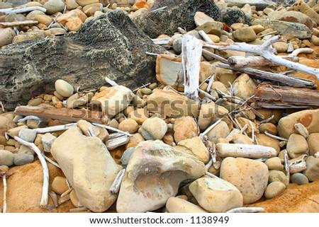 Beach Rocks Background - stock photo