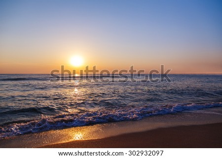 beach sand sea sky sun sunset nature background landscape - stock photo