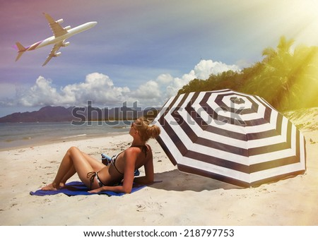 Beach scene. Langkawi island, Malaysia - stock photo