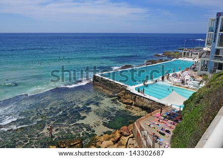 Beach Scene: Rock Swimming Pools overlooking Tasman Sea near Bondi, Australia - stock photo