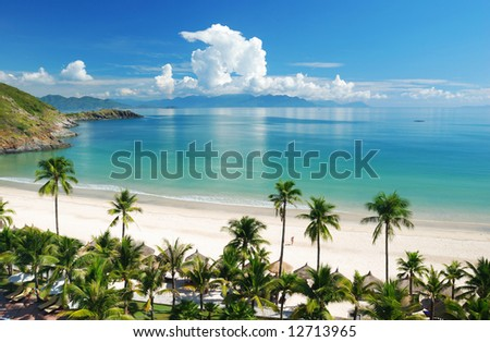 Beach Scene, Tropics, Pacific ocean - stock photo